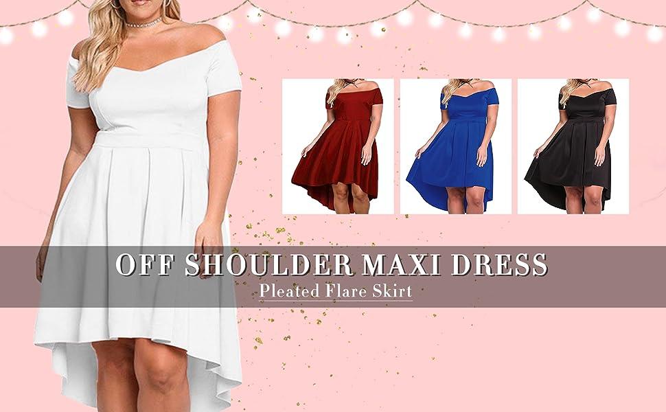 471273fc8da XAKALAKA Women s Plus Size Off Shoulder Pleated High Low Maxi Wedding  Cocktail Dress