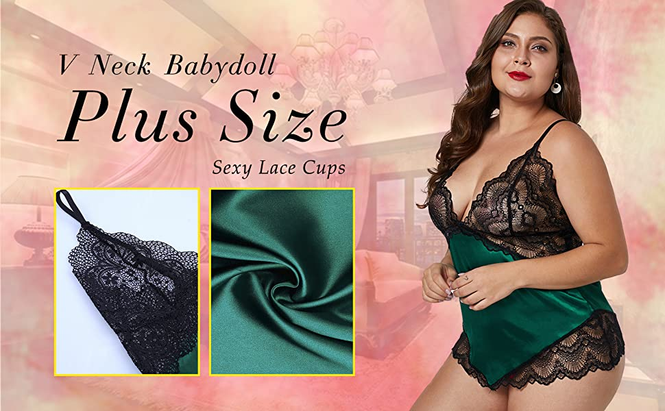 cf678acf6 XAKALAKA Women Plus Size V Neck Lace Satin Lingerie Babydoll Silky ...