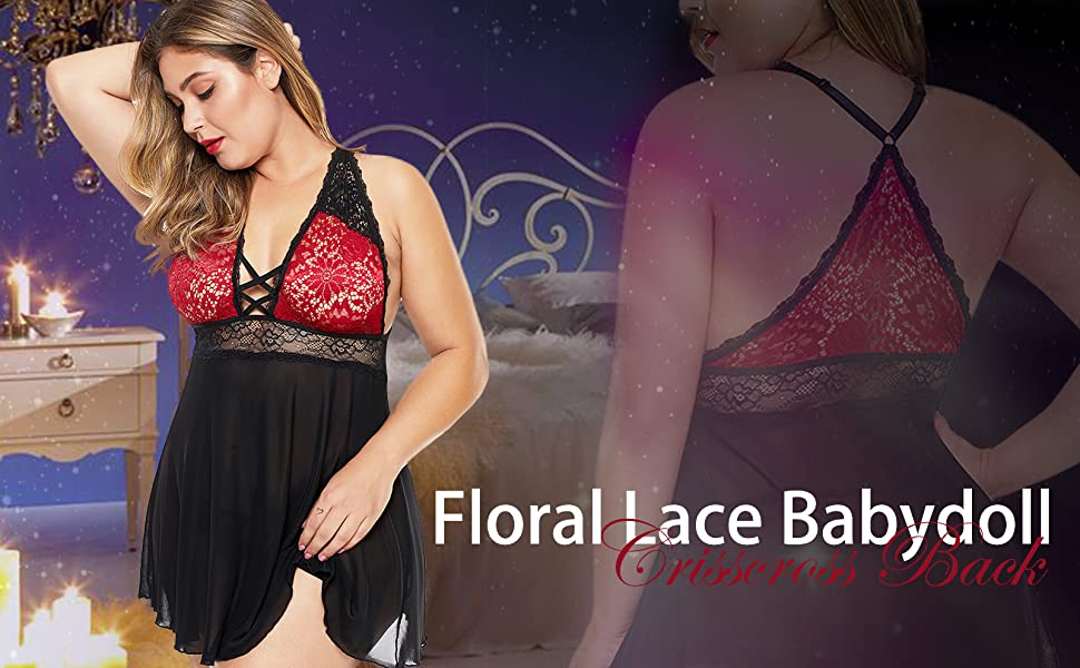 XAKALAKA Women Plus Size Lace Mesh Babydoll Lingerie Crisscross Back Chemise Sleepwear