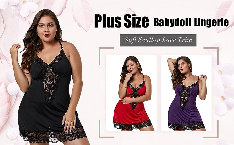 bc5c9265e XAKALAKA Women Plus Size Babydoll Lingerie Back Crisscross Lace Trim  Chemise Sleepwear