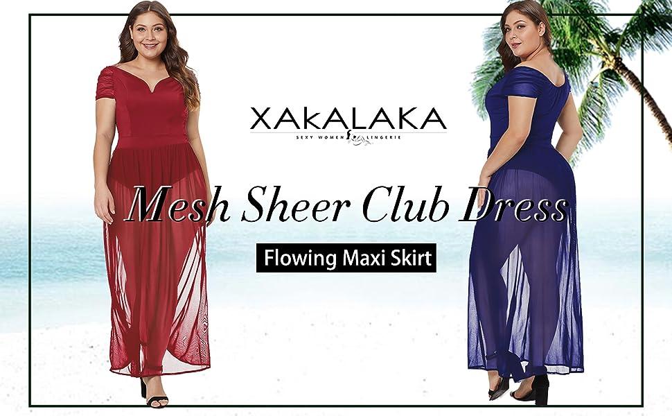fe779dcaa0a XAKALAKA Women s Plus Size Lace Off Shoulder Sweetheart Bodysuit Sheer Club Long  Dress