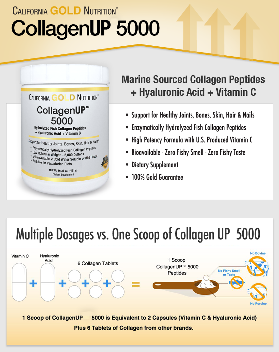 California Gold Nutrition, Collagen UP 5000, Marine-Sourced Collagen Peptides + Hyaluronic Acid & Vitamin C, 16.26 oz (461 g)