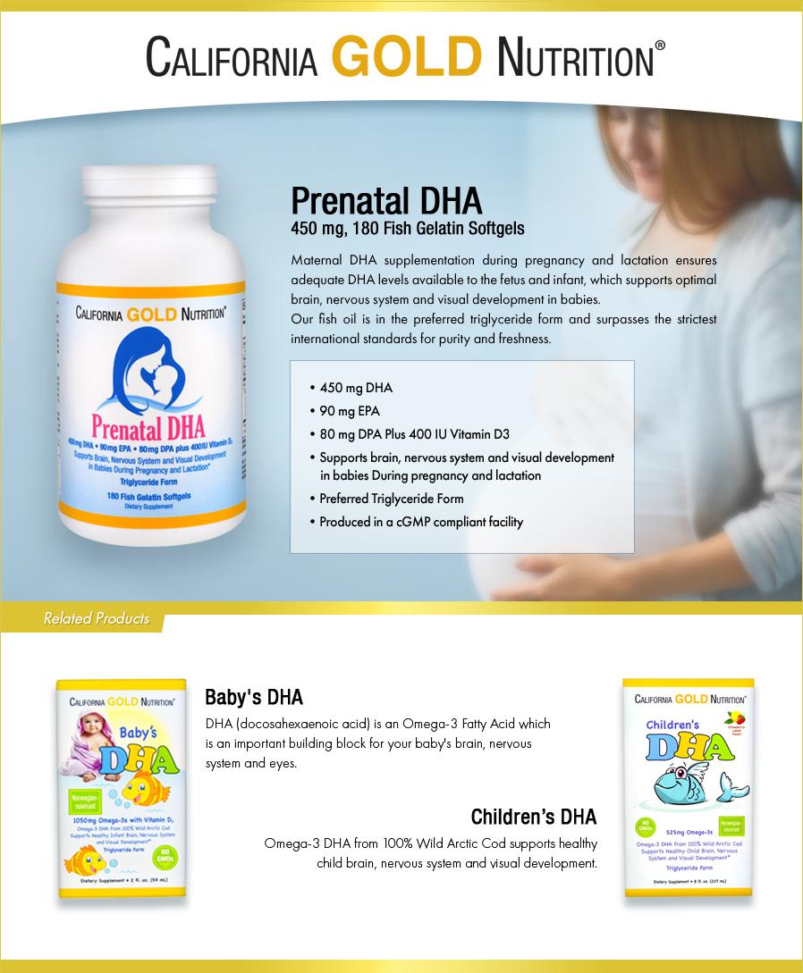 cada12a3dba California Gold Nutrition, Prenatal DHA, 450 mg, 180 Fish Gelatin Softgels