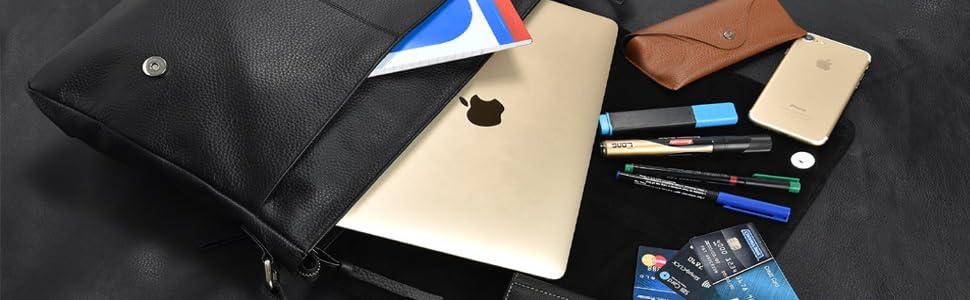 Amazon.com  Leather Laptop Messenger Bag for Men - Premium Office ... d845455bf4320