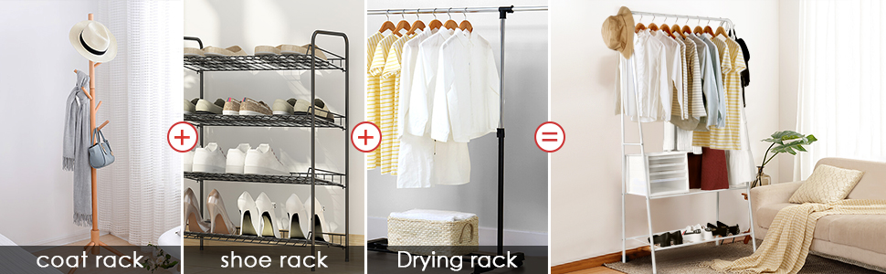 INTEY Coat Rack, Metal entryway with 2 Tier Metal Shelf 4 Hooks for Shoes Boxes Clothes Organizer Stainless Steel Heavy Duty up to 88 Pounds