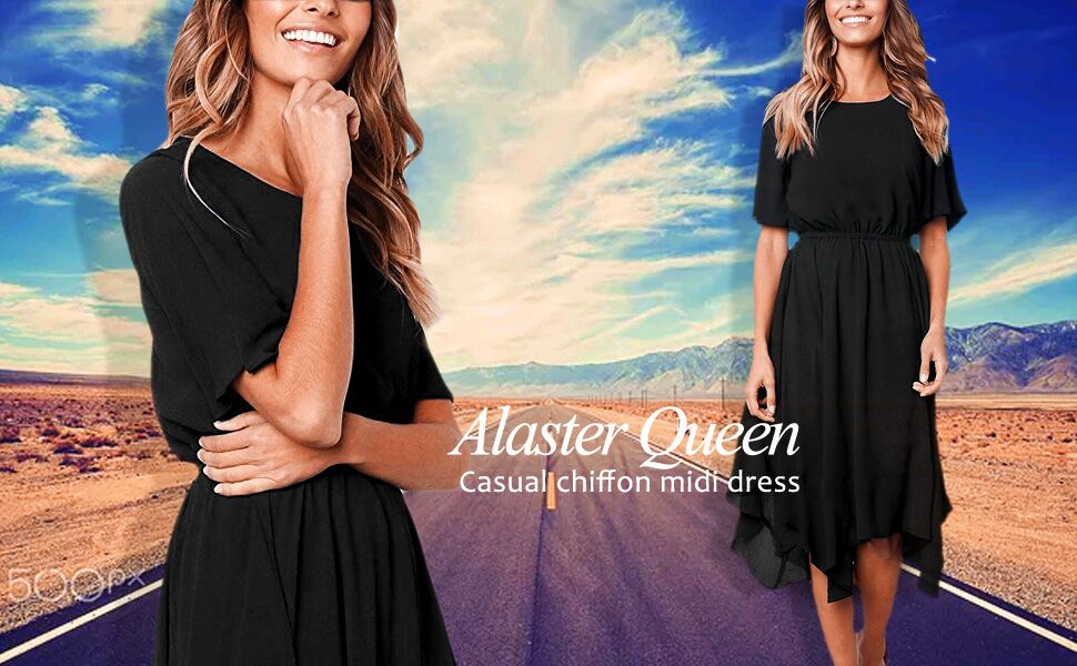ff6def84dd61 Women's Chiffon Short Sleeve Casual Midi Dress Empire Waist Irregular Hem  Summer Dress. Casual chiffon midi dress