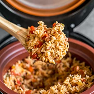 fluffy rice, tasty Spanish rice & beans, bean cooker, clay pot cooker, smart clay cooker, bone broth