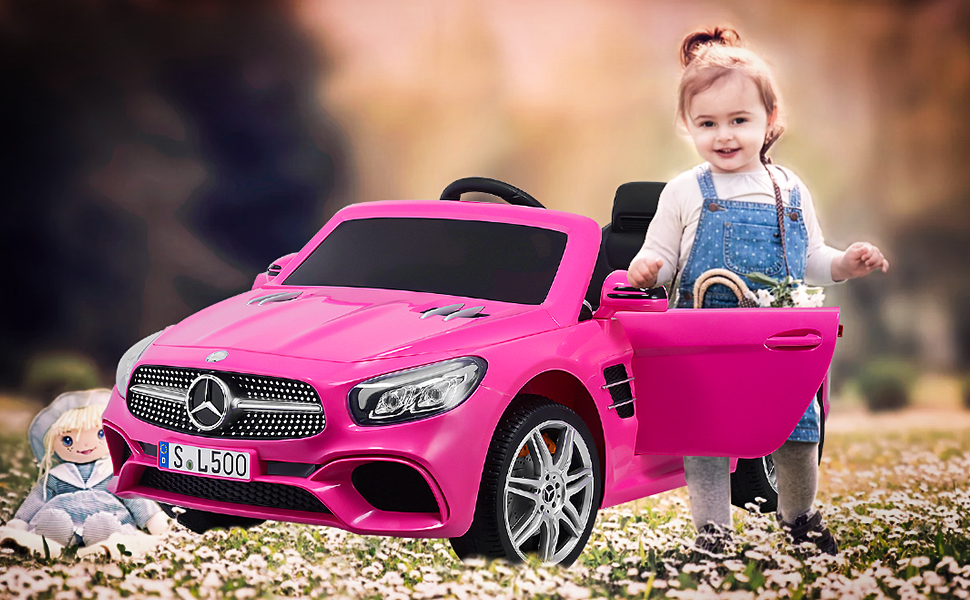 Amazon.com: Uenjoy 12V Licensed Mercedes-Benz SL500 Kids Ride On Car Electric Cars Motorized Vehicles for Girls, with Remote Control, Music, Horn, Spring Suspension, Safety Lock, Pink: Toys & Games