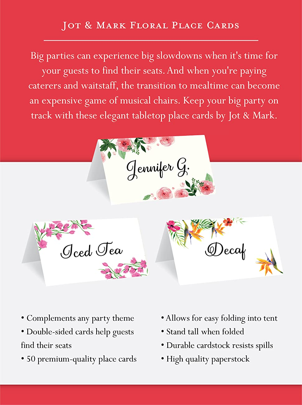 Amazon.com: Jot & Mark Place Cards Floral 50 Count (Pink Peonies ...