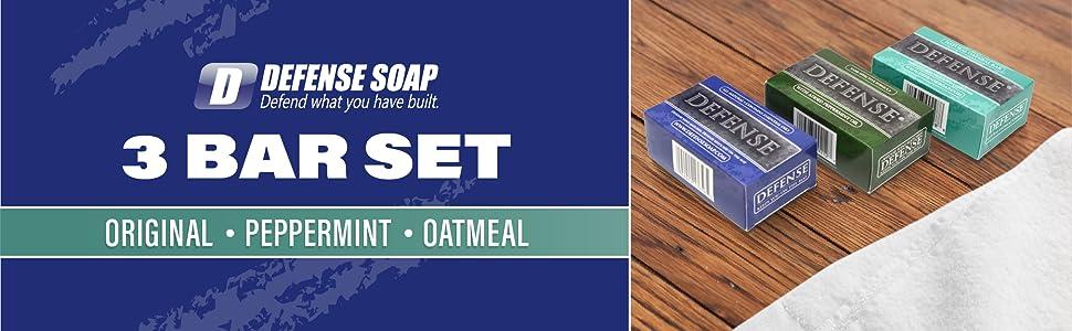 Defense Soap Gift Set Original Peppermint Oatmeal Eucalyptus Tea Tree Natural Oil