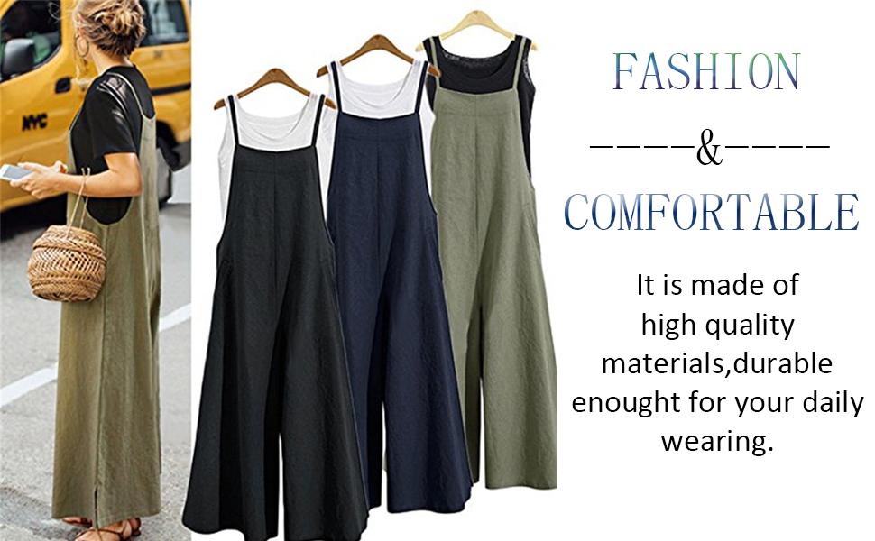 4074a5468f7c Amazon.com  Aedvoouer Women s Baggy Plus Size Overalls Cotton Linen ...