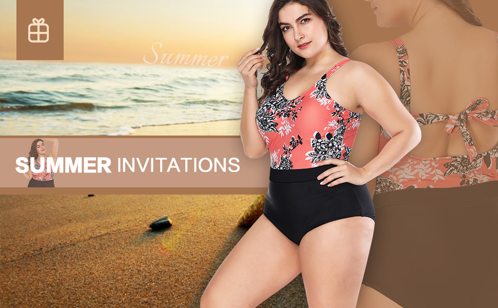 5014e2f139a88 FeelinGirl Women's One Piece Swimwear Plus Size Swimsuit High Waisted Pin  Up Bathing Suits