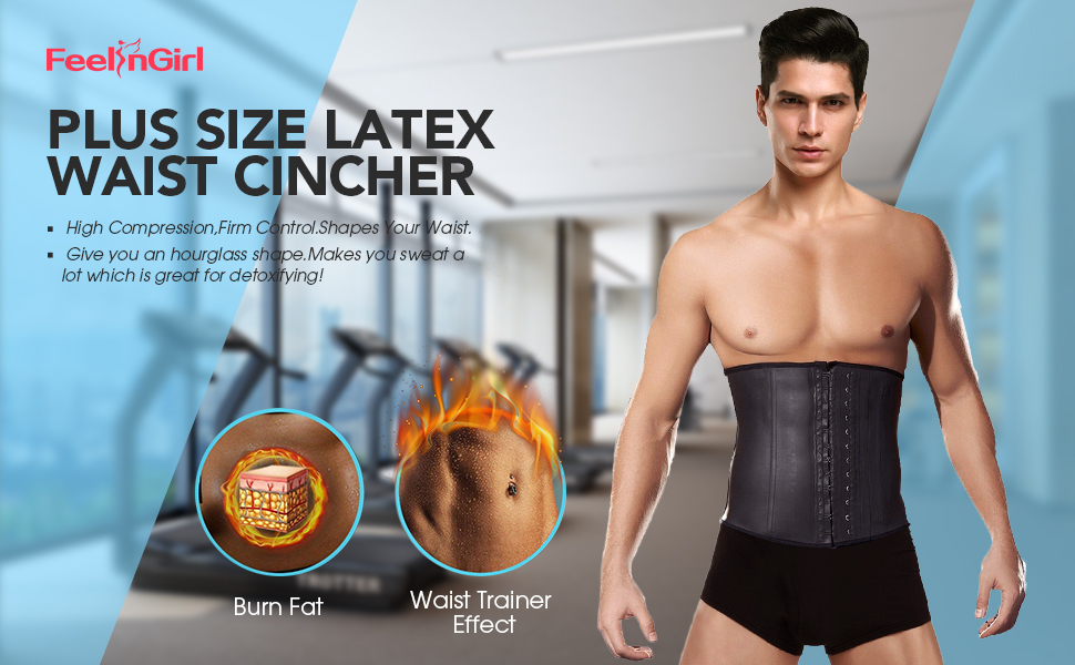 6a5eb1f44 FeelinGirl Men s Tummy Control Steel Boned Waist Trainer Workout Sport  Shapewear