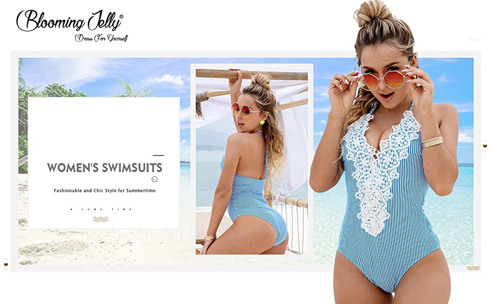 267c7313a6 Blooming Jelly Women's Vintage One Piece Swimsuit Lace Tummy Control ...