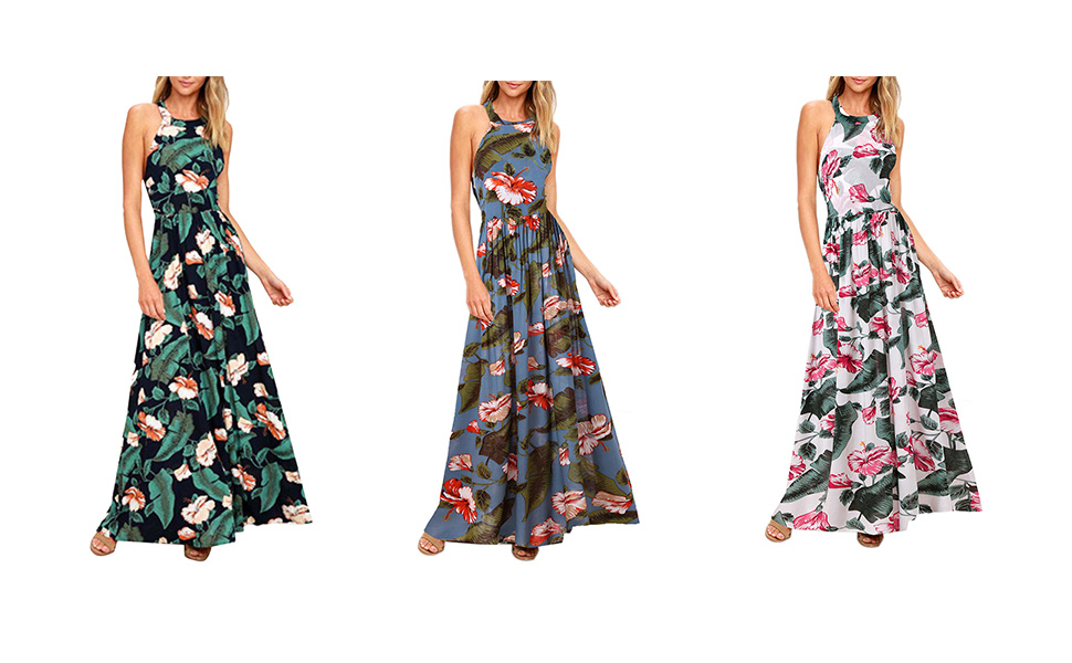 467948565727 Blooming Jelly Women s Tropical Sleeveless Halter Neck Criss Cross ...
