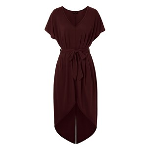 Wine red split maxi dress