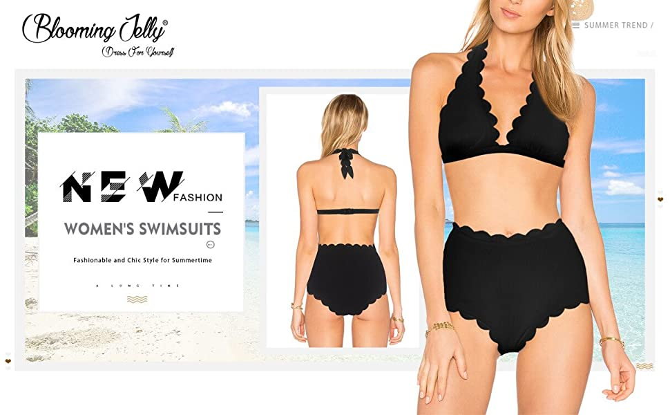 686a15876 Amazon.com  Blooming Jelly Women s High Waisted Swimsuit Halter Two ...