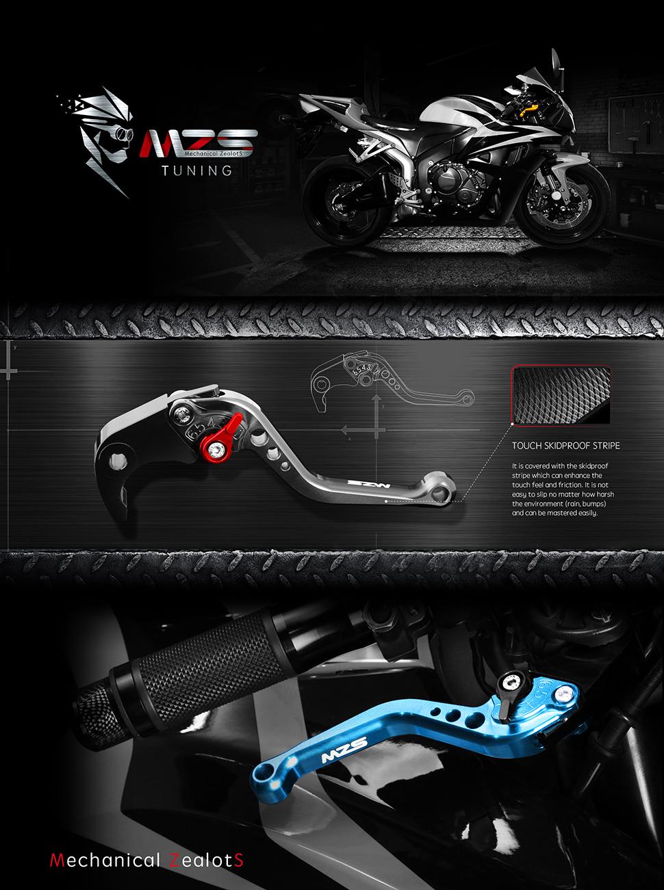 MZS Short Brake Clutch Levers for Kawasaki Z750R 2011-2012/ Z1000 2007-2016/ Z1000SX Tourer 2011-2016/ NINJA 1000 2011-2016/ ZX6R ZX636 2007-2018/ ...
