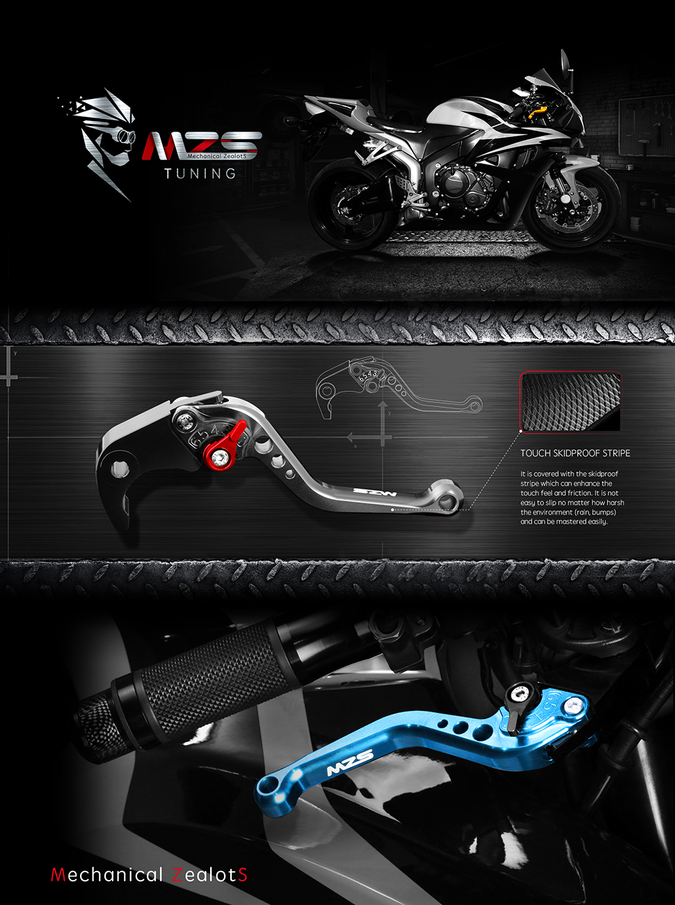 MZS Short Brake Clutch Lever for GSXR1000 2009-2019 2014 2015 2016 2017 2018 US