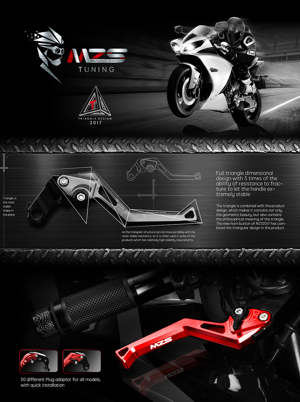 Motorcycle Short Adjustable Clutch Brake Levers For Kawasaki 650R//2017
