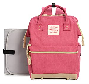 Changing Pad /& Insulated Pocket For Girl /& Boy Cutesy Pink Wide Open Designer Baby Diaper Backpack By Moskka/¨CNappy Tote Bag w//Stroller Straps