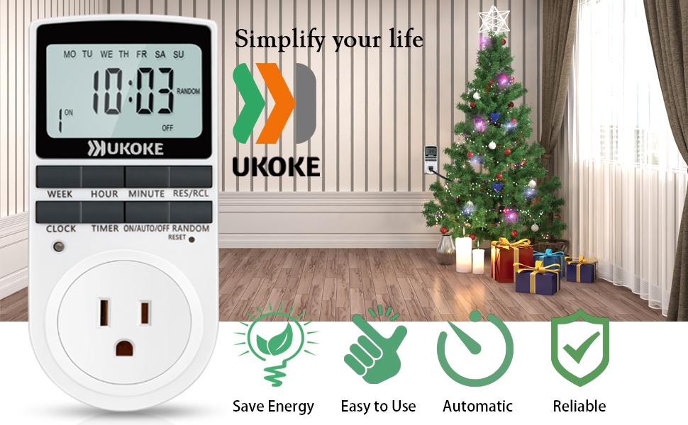 Light timer ukoke timer outlet appliance timer with outlet 7 day ukoke utm01 light timer with outlet mozeypictures Gallery