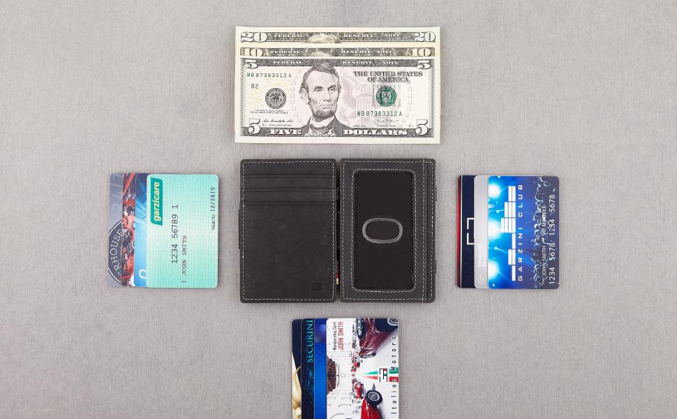 Garzini magic wallet Essenziale with ID Window Vintage leather flat layout