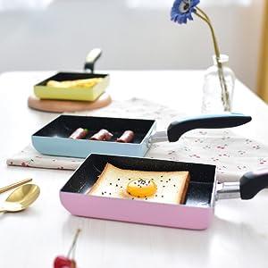 mini sart/én Olla de tortilla de hierro Sart/én de mango de madera Tamagoyaki Funciona con gas Sart/én de tortilla japonesa//huevo de Tamagoyaki hal/ógeno cer/ámica y placas de inducci/ón
