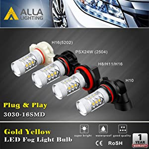 Optional Bulb Sizes H8 H16 H11 H10 9145 5202 2504 LED Fog Lights Bulbs Replacement