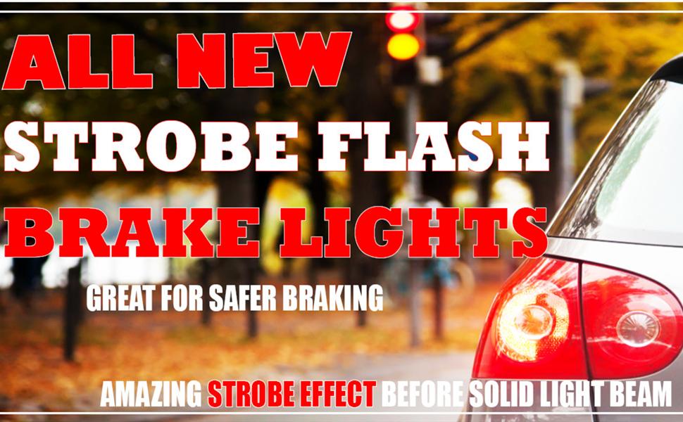 Alla Lighting Super Bright T20 7440 7443 LED Strobe Flash Brake Stop Light Red SMD 12V LED 7443 Bulb