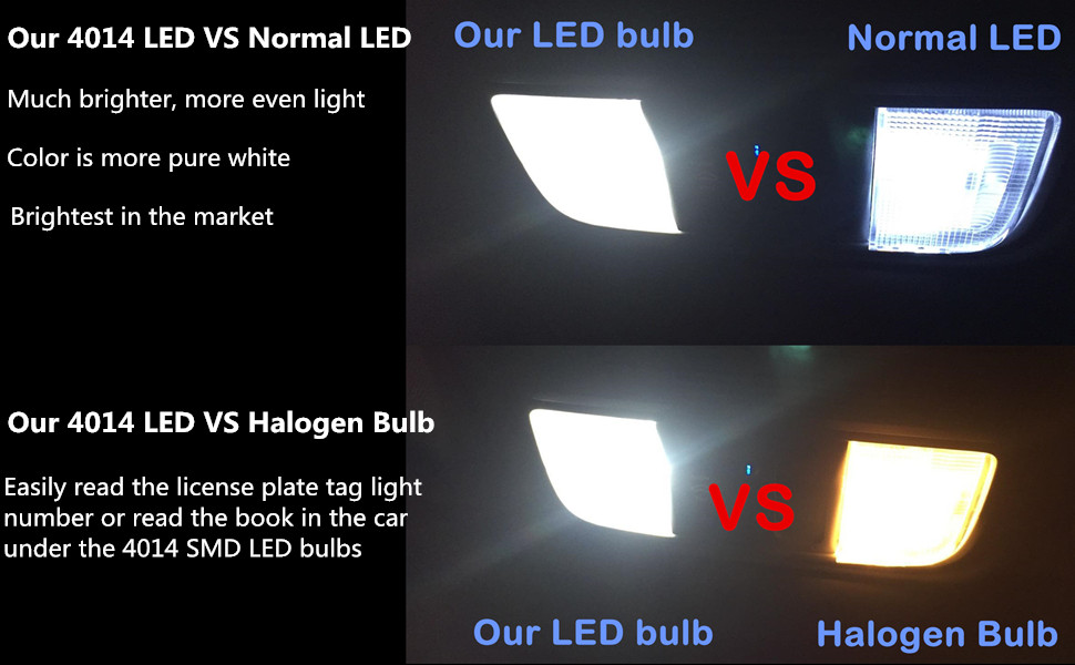 Our T10 4014 SMD LED Bulbs VS Normal LEDs Halogen Bulb