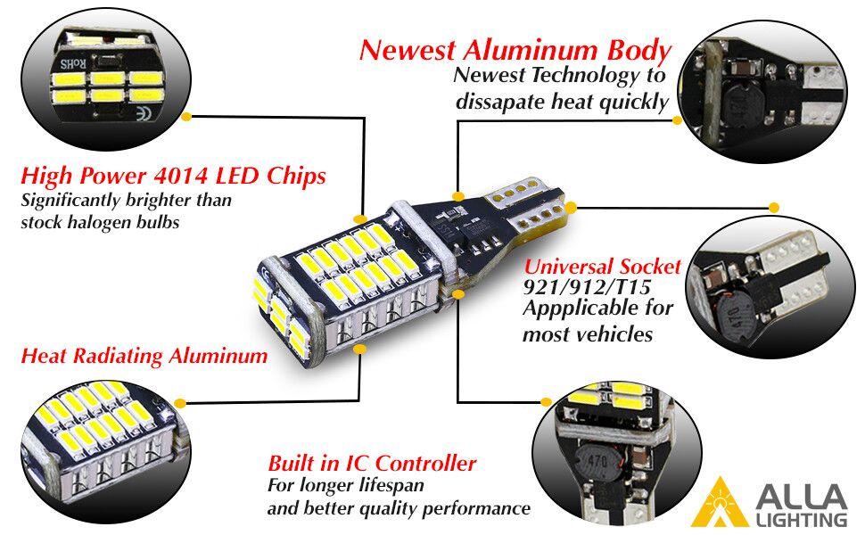 Features of Alla Lighting 921 912 W16W 921KX Super Bright 4014-SMD LED Light Bulbs  sc 1 st  Amazon.com & Amazon.com: Alla Lighting 2pcs Extremely Super Bright 1000 Lumens ... azcodes.com
