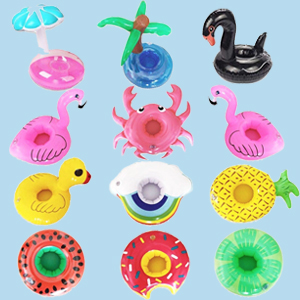 Inflatable Drink Holders 12 Packs Swim Drink Floats Coasters Summer Pool Beverage Boat Cup Holders for Pool Party Supplies