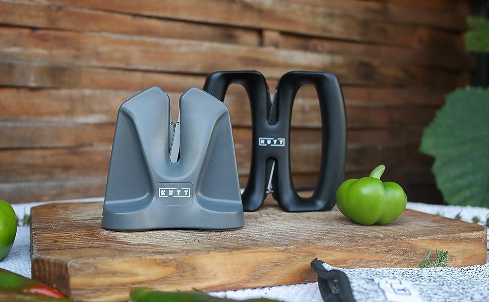 KUTT Knife Sharpener Edge, Professional Chef Kitchen V Sharpener, Auto Adjust Technology, Compact for Easy Storage, Sharpens Hones Polishes Dull Chef ...