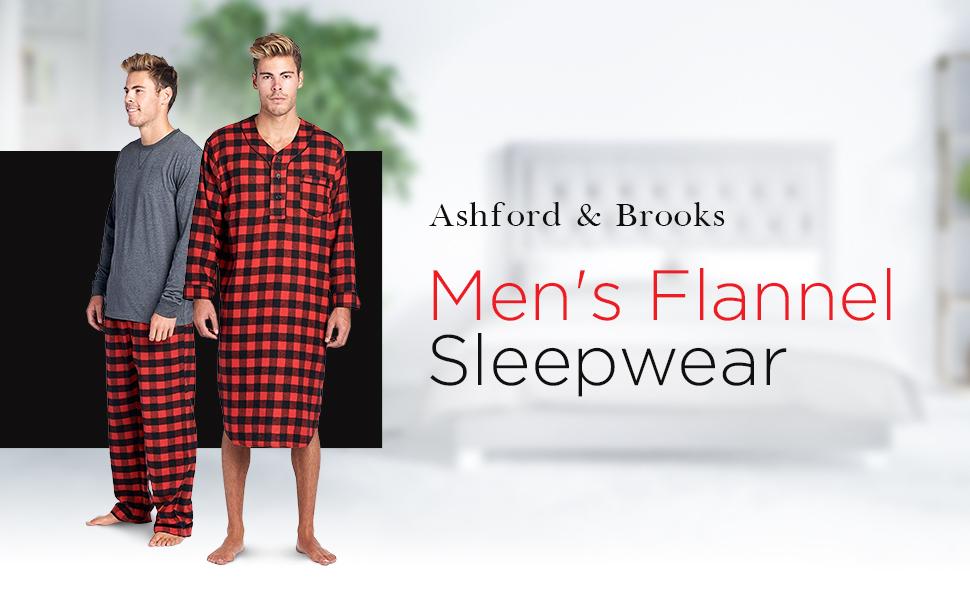 e1ee8b9bf99 Ashford   Brooks Mens Flannel Plaid Long Sleep Shirt Henley ...