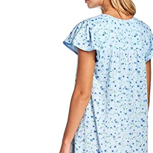 Casual Nights Womens Round Neck Long Sleeve Lace Floral Nightgown