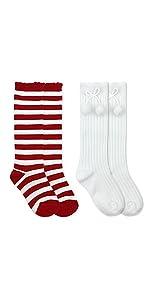 ac47dd73bfd ... Jefferies Socks Girls Fashion Striped and Pom Pom Bow Wacky Wednesday  Reading Day Knee High Socks ...
