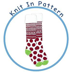 4cc9d1a30a9 Jefferies Socks Girls Red White Dot Stripe Fuzzy Cuff Knee High Socks 1  Pair Pack