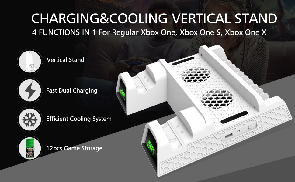 xbox one s cooling fan&vertical stand&controller charger