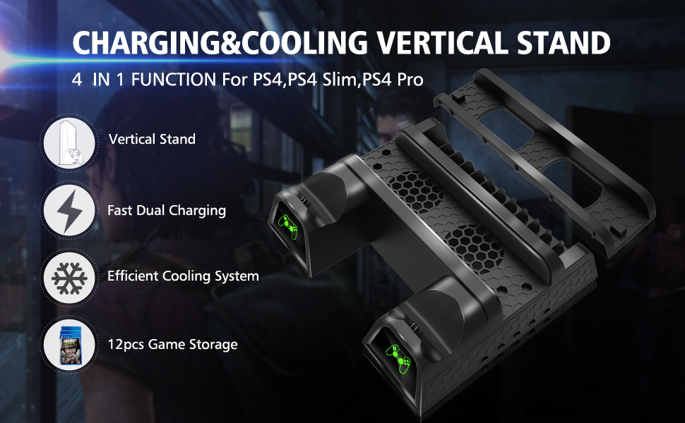 PS4/PS4 Slim/PS4 Pro Cooler, Multifunctional Vertical Cooling Stand, PS4 Controller Charger