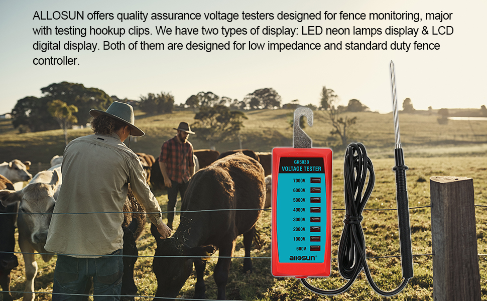 Farmily Multi Light Electric Voltage Tester Horse And Lovestock Fencing Farm New