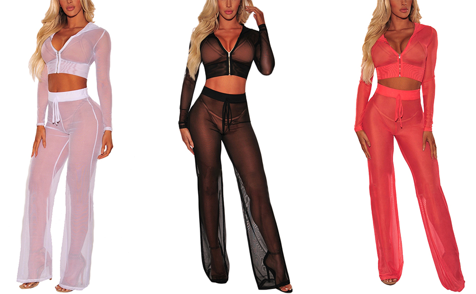 209a5dd577748 Dangslxm See Through Sheer Mesh Hoodie Crop Tops and Pants 2pcs Bikini Cover -ups Beach Outfits