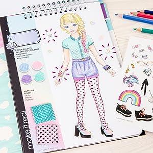 Amazon Com Make It Real Fashion Design Sketchbook Pastel Pop Inspirational Fashion Design Coloring Book For Girls Includes Sketchbook Stencils Puffy Stickers Foil Stickers And Fashion Design Guide Toys Games