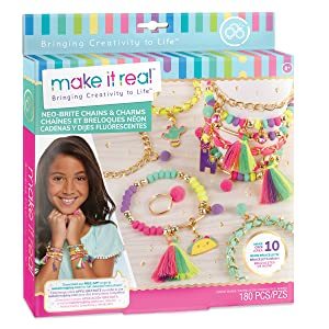 make it real neo brite chains charms kit jewelry bracelet set kids girls tassel ring tween neon