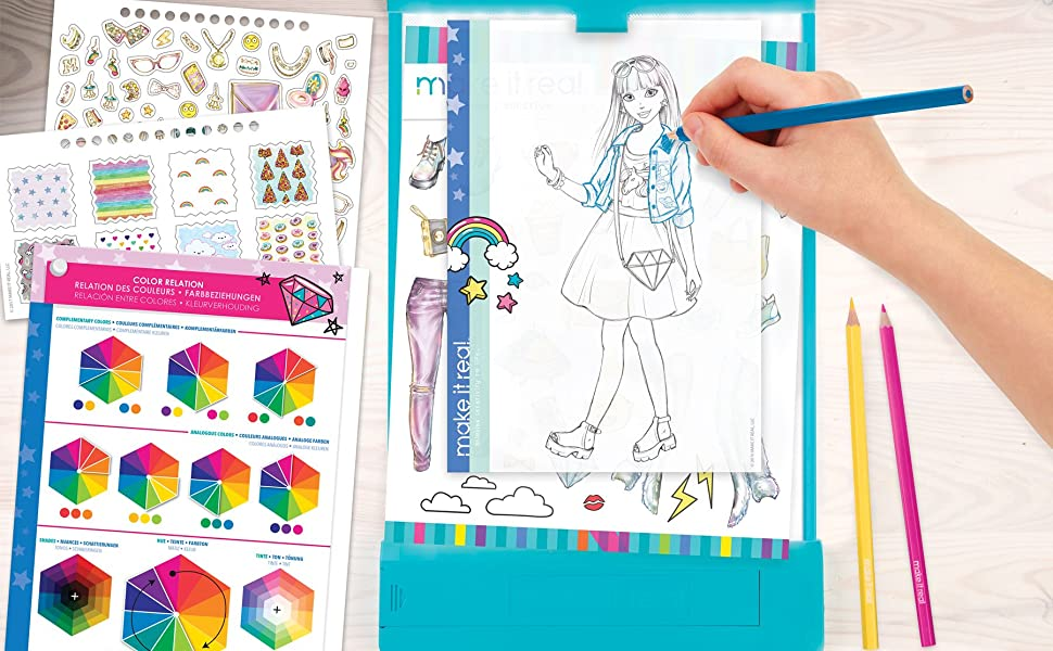 Amazon Com Make It Real Fashion Design Mega Set With Light Table Kids Fashion Design Kit Includes Light Table Colored Pencils Sketchbook Stencils Stickers Design Guide And More Toys Games