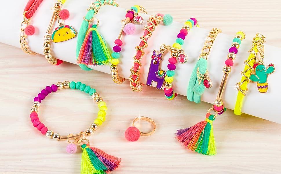 make it real neo brite chains charms kit jewelry bracelet set kids girls tassle ring tween neon