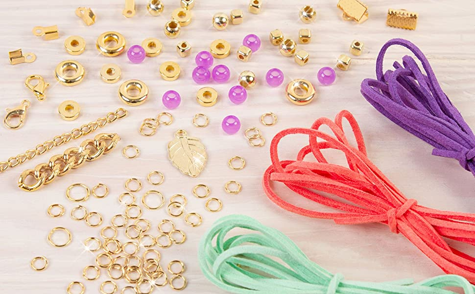Gold Link Suede Bracelets Arts and Crafts Kit to Design and Create Unique Tween Jewelry with Faux Suede Gold Pieces /& Charms 1207 DIY Suede Bracelet /& Choker Making Kit for Girls Beads Make It Real