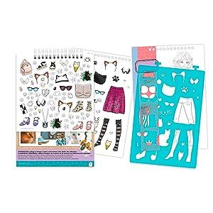 make it real fashion design sketchbook pretty kitty cat drawing kit set  kids girls craft set tween