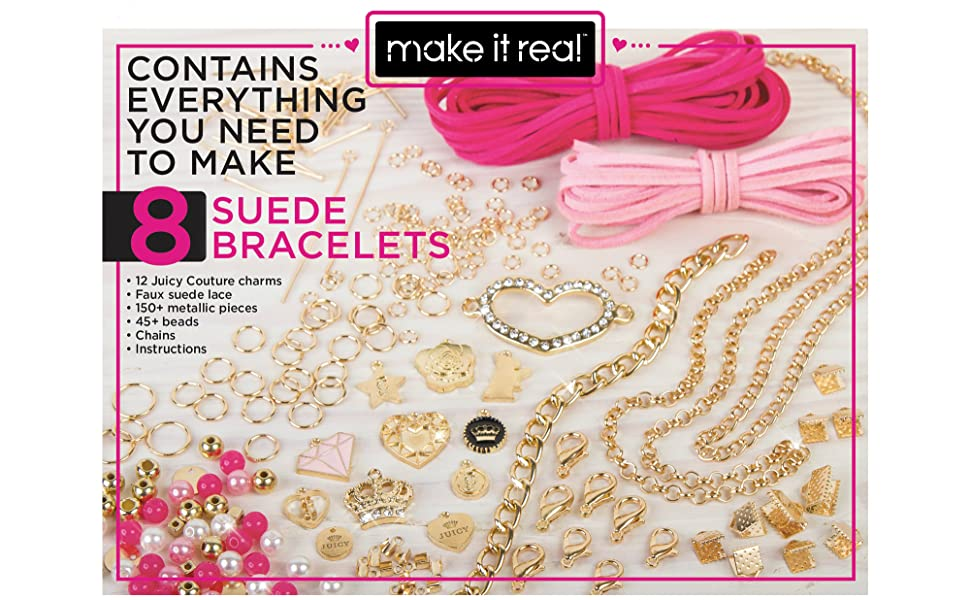 Make It Real – Juicy Couture Sweet Suede Bracelets. DIY Charm Bracelet Making Kit for Girls