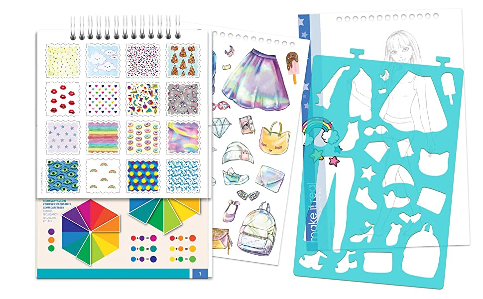 make it real digital dream fashion design sketchbook girls coloring book drawing stencils tween